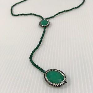Quartz crystal Y necklace